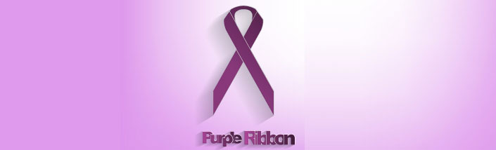 The purple ribbon symbolizing solidarity against pancreatic cancer on a purple backgrounded faded into white.