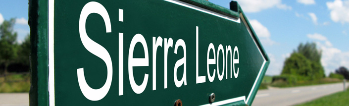 Signpost pointing towards Sierra Leone
