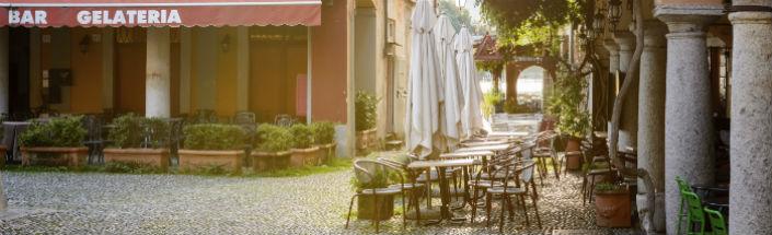 Sun bathed square in Orta San Giulio