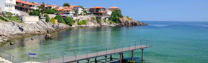 Black Sea coast in ancient town of Sozopol in Bulgaria