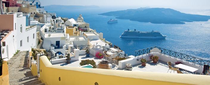 Greece, village overlooking the sea