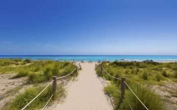 A sandy walkway towards a clear blue sea in Alaior Cala Son Bou in Menorca