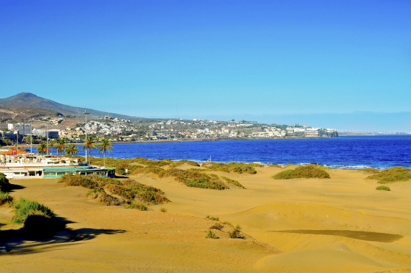 Playa del Ingles on a glorious day, with golden sand and deep blue sea