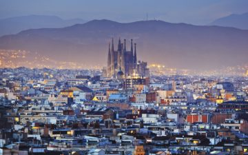 View of Barcelona at dusk