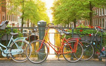 Bikes on bridge over canal, Amsterdam