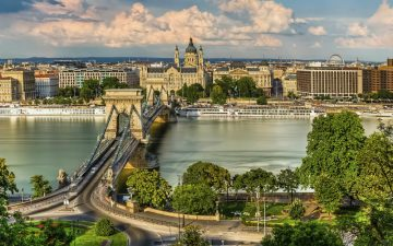 An aerial view of the Danube river in Budapest