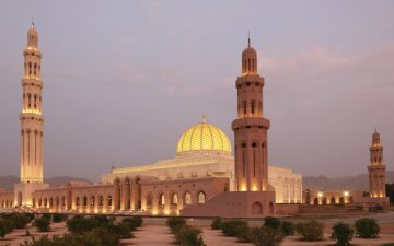 Sultas Qaboos Grand Mosque by night in Muscat, Oman