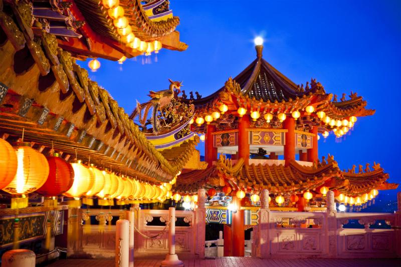 Thean Hou Temple lit up at night in Kuala Lumpur,, Malayasia