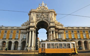 Tram in Commerce Square, Lisbon