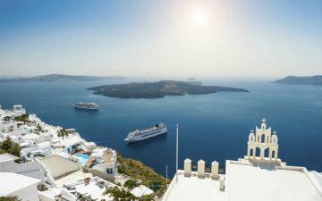 Cruise ships off the coast