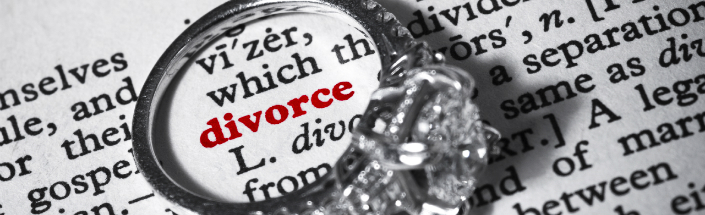 An engagement ring in a dictionary definition of divorce