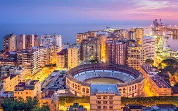 Aerial view of Malaga at night