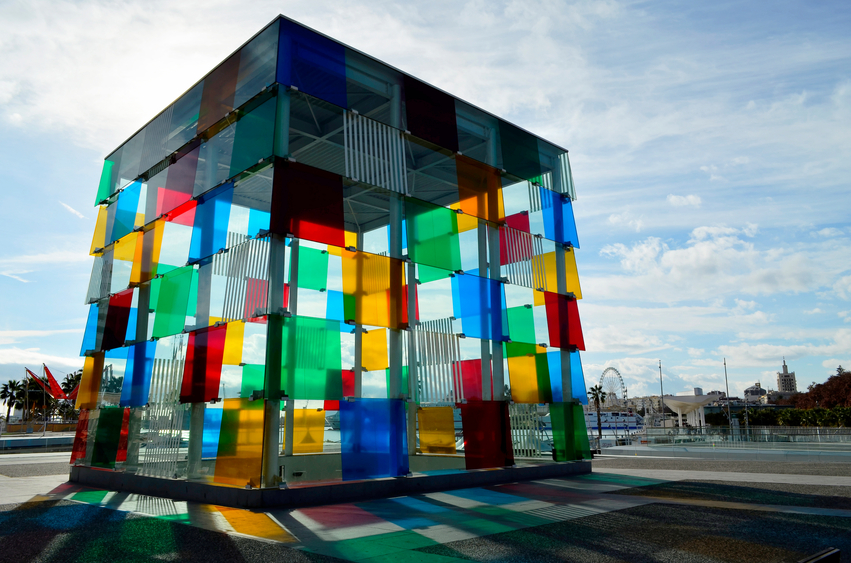 The Cube of Malaga with colorful reflections (horizontal orientation)