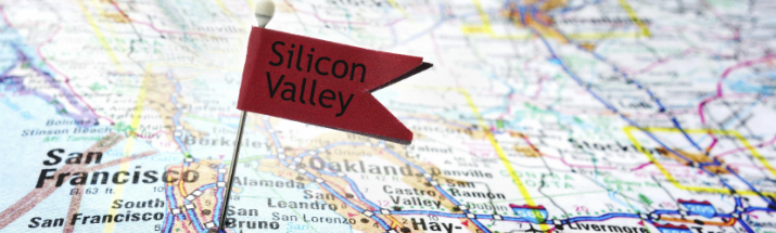 Silicon Valley on a map of the USA
