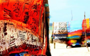 Colorful scarfs on beach, Mombasa
