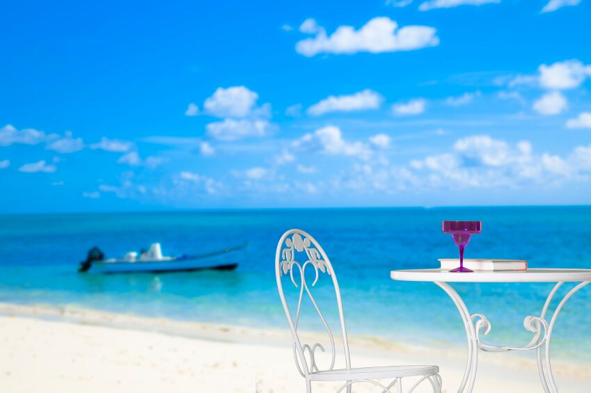 Chair and Table on Beach, Grand Bahama