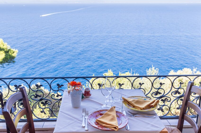 Dining table and sea view, Capri in Italy
