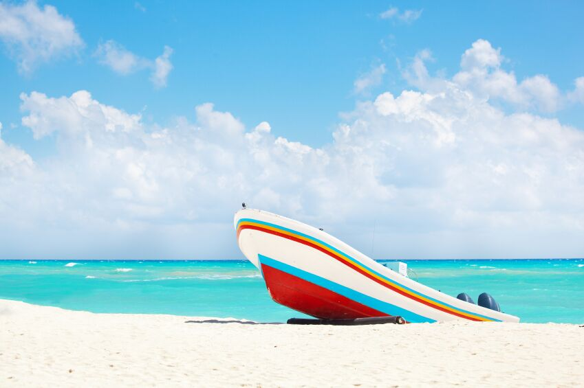 Fishing Boat on Playa del Carmen, Cancun, Mexico