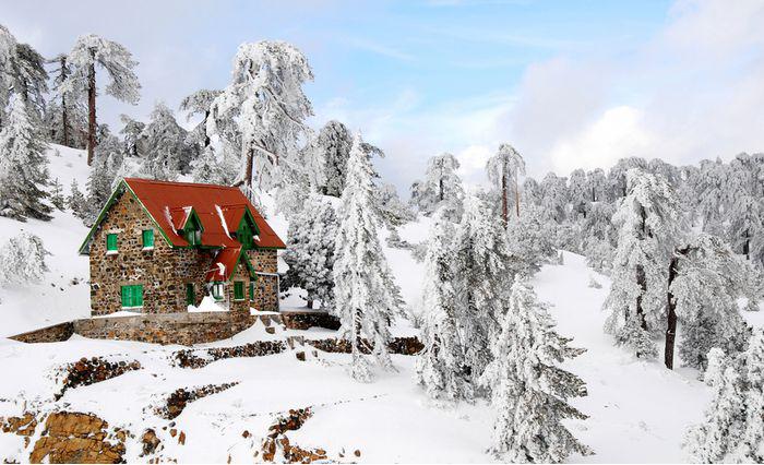 Snowy scene in Cyprus