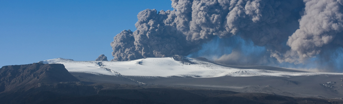 The disruptive ash cloud emerging from an Icelandic volcano