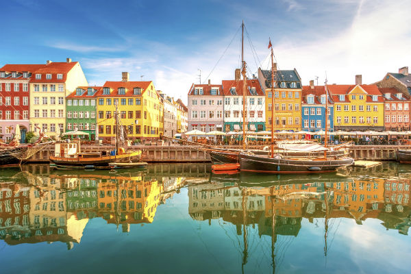 Boats on a river in Copenhagen, Denmark