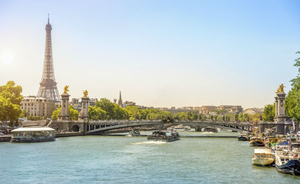 Eiffel Tower on the banks of the Seine in Paris France