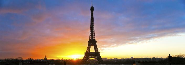 Eiffel tower, France at sunset