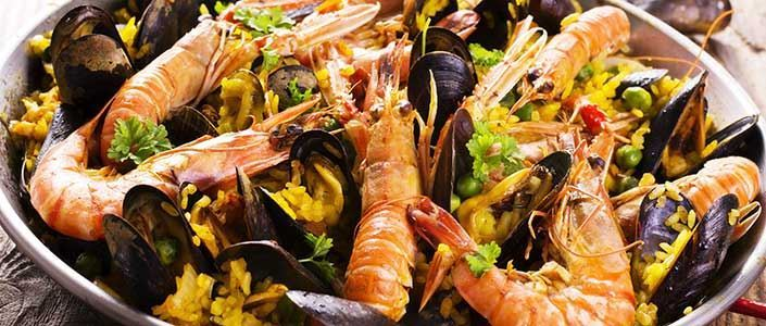 A dish of traditional Spanish seafood paella.