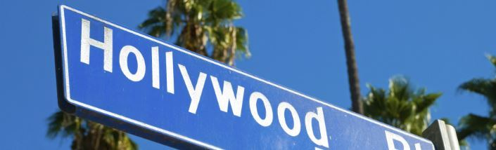 Hollywood boulevard sign and palm trees