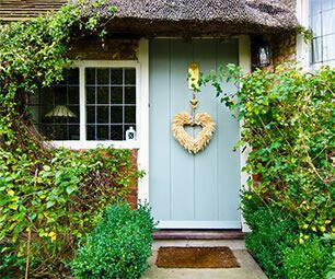 Country cottage with a blue door