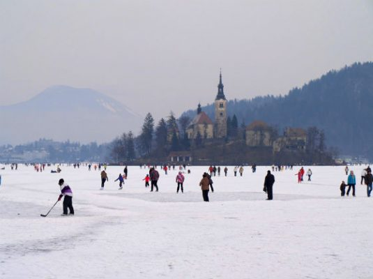 Ice skating on Lake Bled