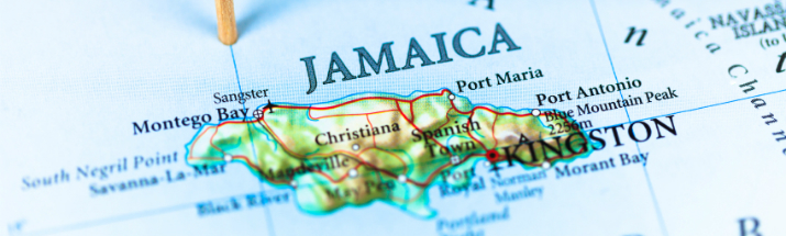 Close up of Jamaica pin-pointed on a map