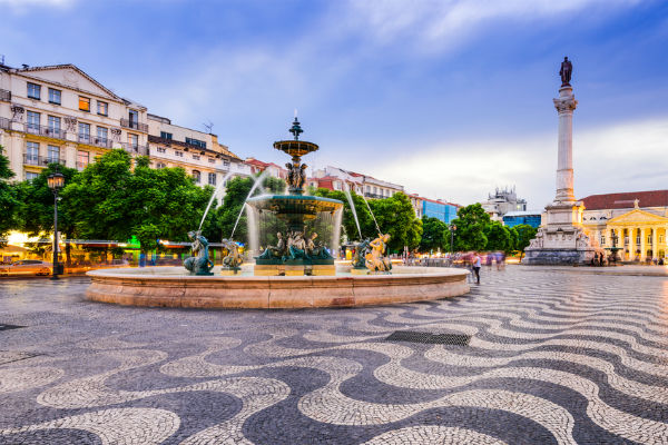 Fountain in a square in Lisbon, Portugal