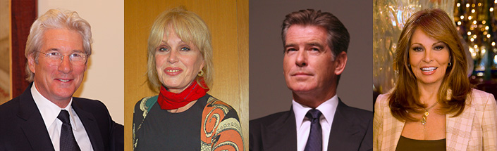 Richard Gere, Joanna Lumley, Pierce Brosnan.