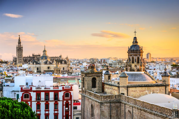 Rooftops and Cathedral in Seville, Spain
