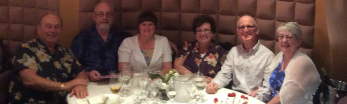 Susan Bright and Maryanne Lauro's reunion dinner on a Caribbean Cruise.