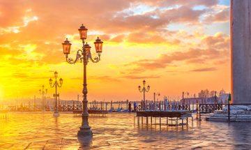 Beautiful orange and yellow sunset over Venice