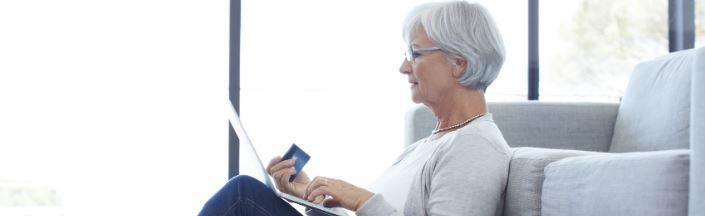 Mature lady using a laptop