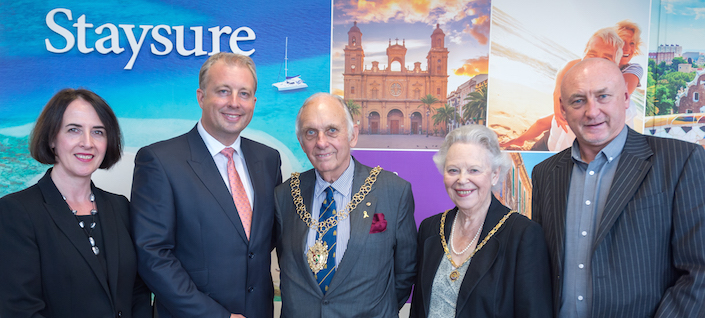 Mayor and Mayoress of Coventry at the official opening of Staysure Travel in Coventry