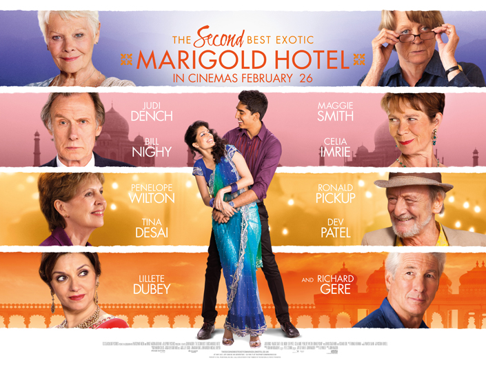 The Second Best Exotic Marigold Hotel movie poster showing the stars of the movie.