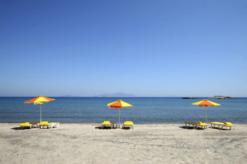 A cloudless view of a beach in Kos, Greece
