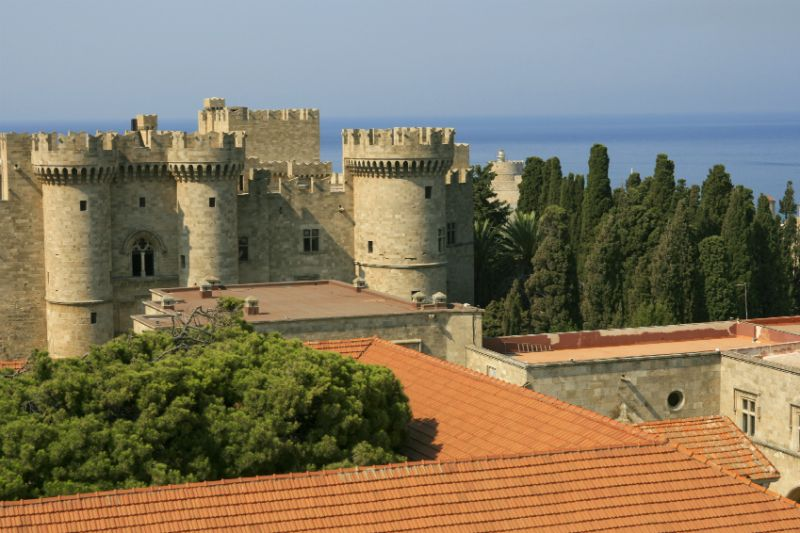The towers and trees at the Grand Master's Palace, Rhodes, Greece
