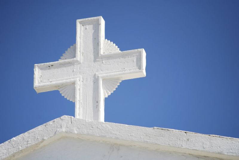 A cross in a church roof, Athens, Greece