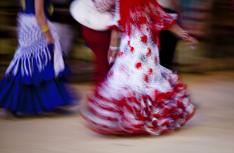 Women in Flamenco dresses