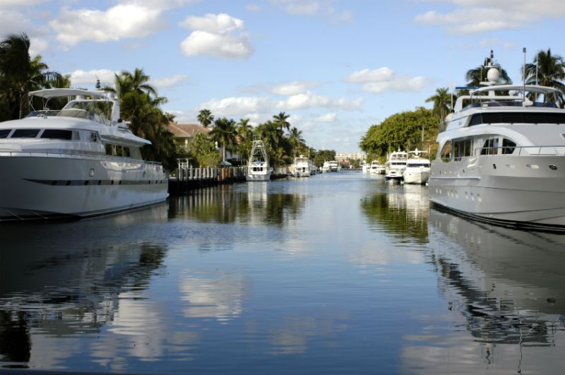 Yachts and Boats on the water canal, Fort Lauderdale, Florida
