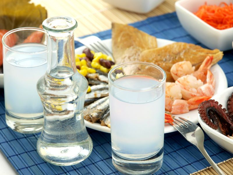 Meal accompanied by ouzo
