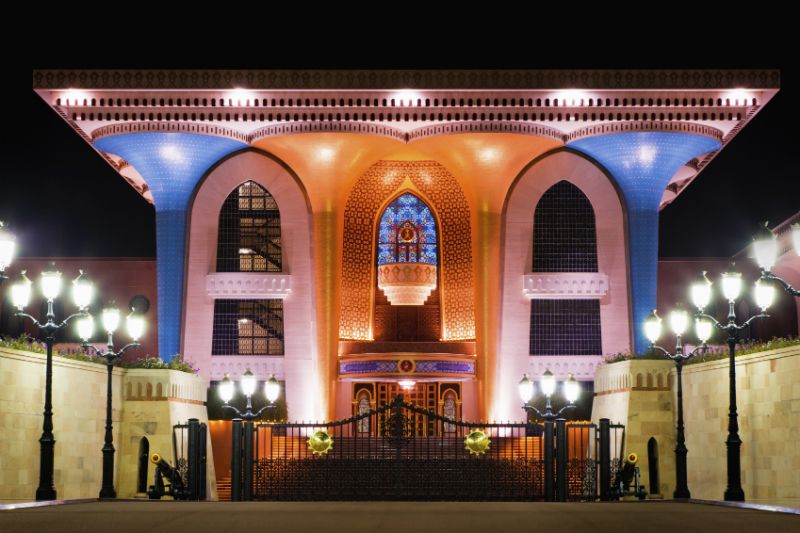 Al Alam Palace at night, Muscat