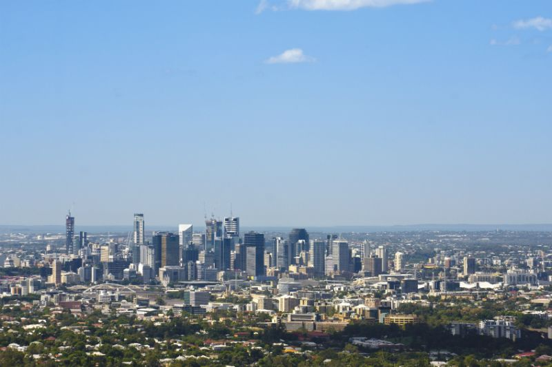 View of the Brisbane skyscrapers from Mount Coot-Tha, Australia