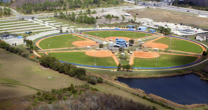 Aerial view of baseball field, Orlando