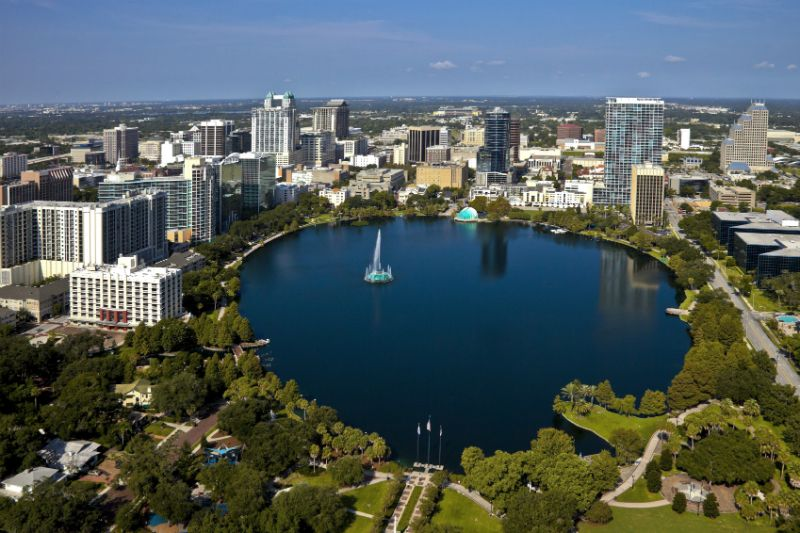 Aerial View of Lake Eola Park, Orlando